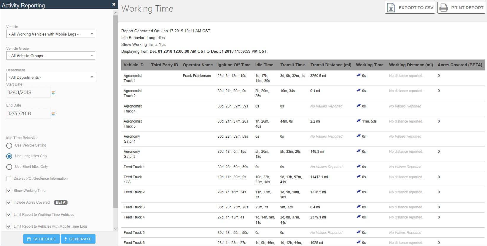 Screenshot of vehicle activity reporting on Razor Tracking's fleet management platform