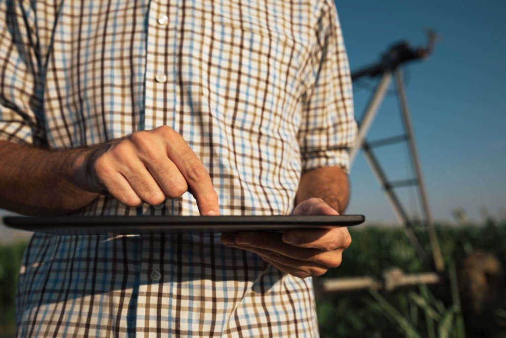 Farmer using tablet computer in cornfield with irrigation system