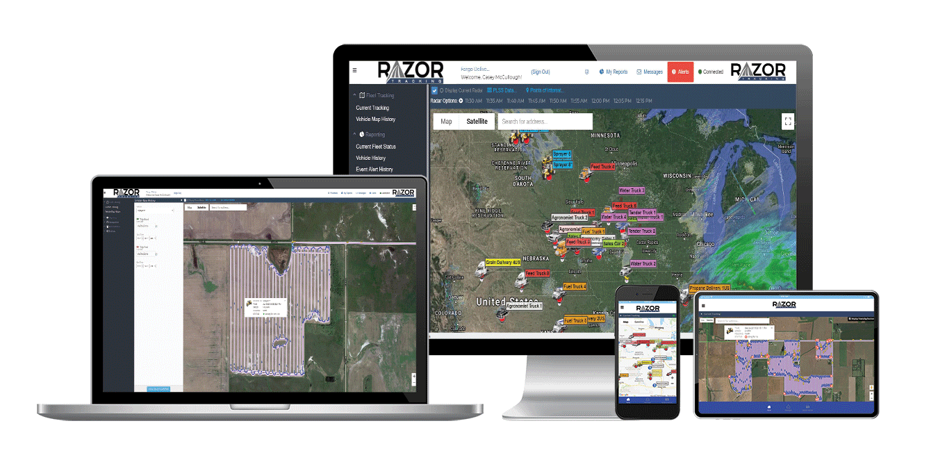 preview of the responsive fleet tracking app by Razor Tracking